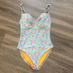 Echo blue pink one piece bathing suit